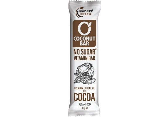 Батончик кокосовый с какао в шоколадной глазури 40г