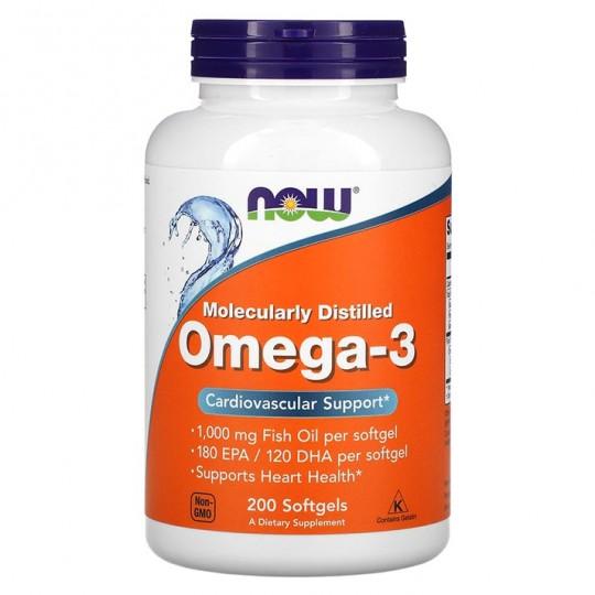 Омега-3 NOW FOODS 1000 мг - 200 капсул