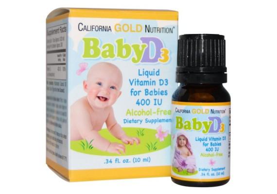 Витамин D3 для детей в каплях 400 МE (10 мкг) 10 мл - California Gold Nutrition